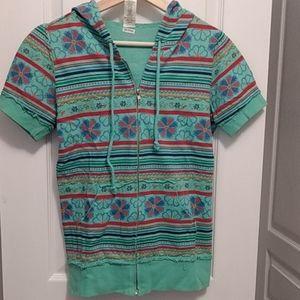 Aztec green zip hoodie - Medium